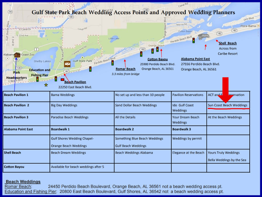 Gulf Sate Park Wedding Access Points Map