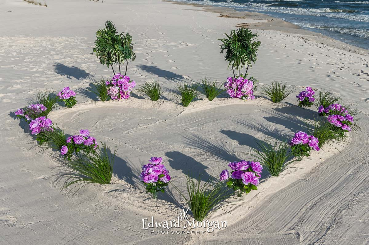 Embossed Heart In The Sand Wedding Package